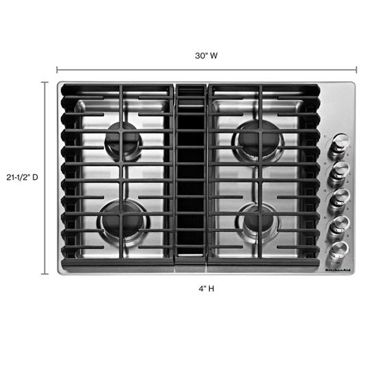 "KitchenAid 30"" 4 Burner Gas Downdraft Cooktop"