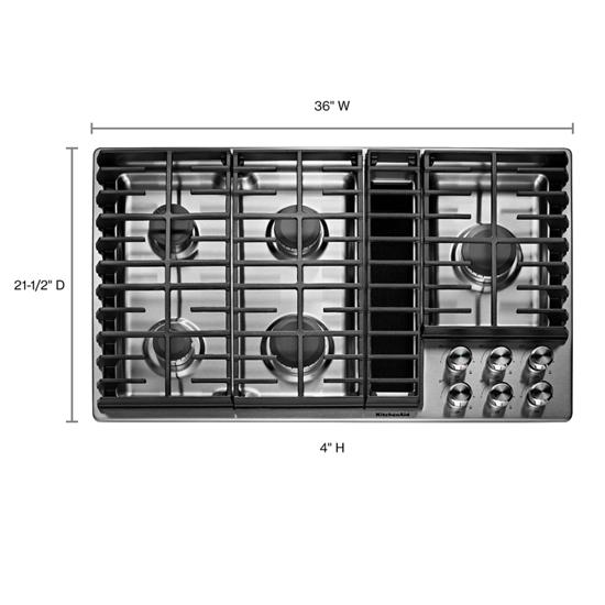 "KitchenAid 36"" 5 Burner Gas Downdraft Cooktop"