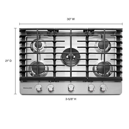 "Model: KCGS550ESS | KitchenAid 30"" 5-Burner Gas Cooktop"