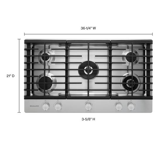"KitchenAid 36"" 5-Burner Gas Cooktop with Griddle"