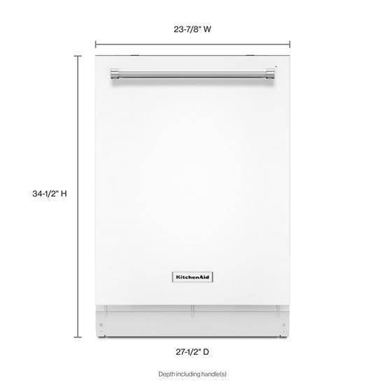 Model: KDTE234GWH | KitchenAid 46 DBA Dishwasher with Third Level Rack