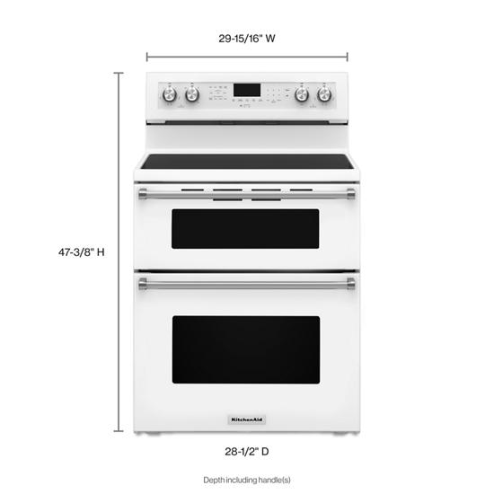 Model: KFED500EWH | KitchenAid 30-Inch 5 Burner Electric Double Oven Convection Range
