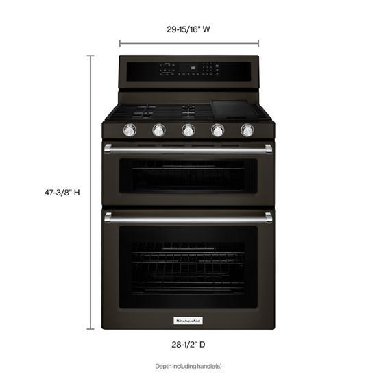 Model: KFGD500EBS | KitchenAid 30-Inch 5 Burner Gas Double Oven Convection Range