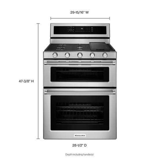 Model: KFGD500ESS | KitchenAid 30-Inch 5 Burner Gas Double Oven Convection Range