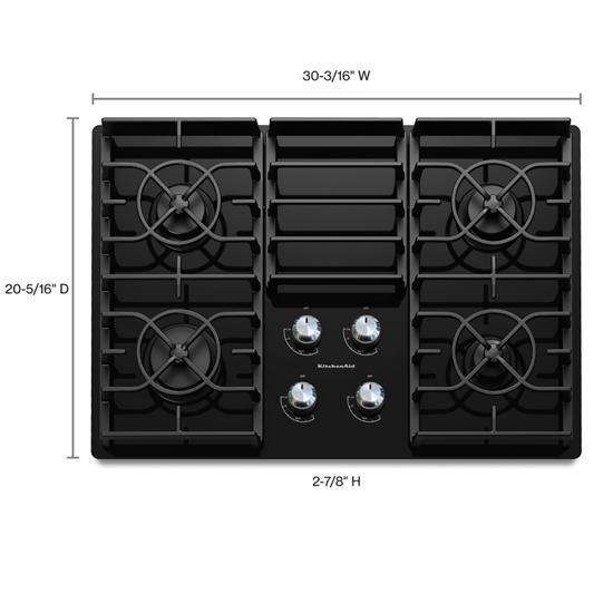Model: KGCC506RBL | KitchenAid 30-Inch 4 Burner Gas Cooktop, Architect® Series II