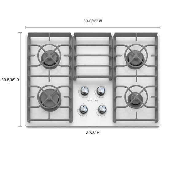Model: KGCC506RWW | KitchenAid 30-Inch 4 Burner Gas Cooktop, Architect® Series II