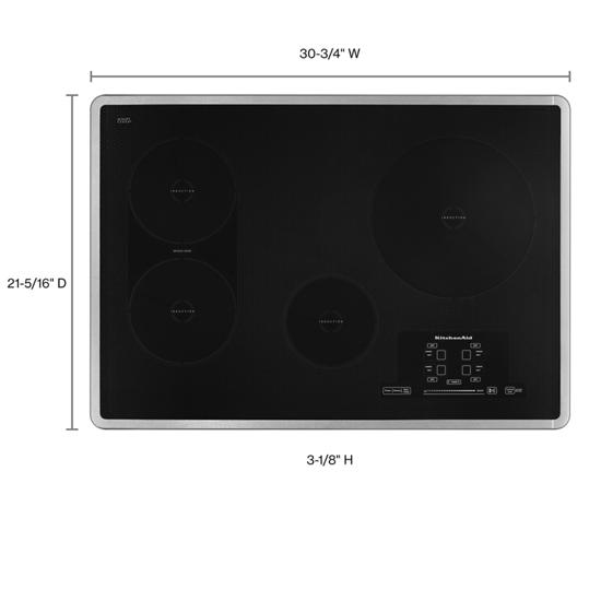 Model: KICU509XSS | KitchenAid 30-Inch 4 Element Induction Cooktop, Architect® Series II