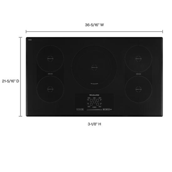 Model: KICU569XBL | KitchenAid 36-Inch 5-Element Induction Cooktop, Architect® Series II