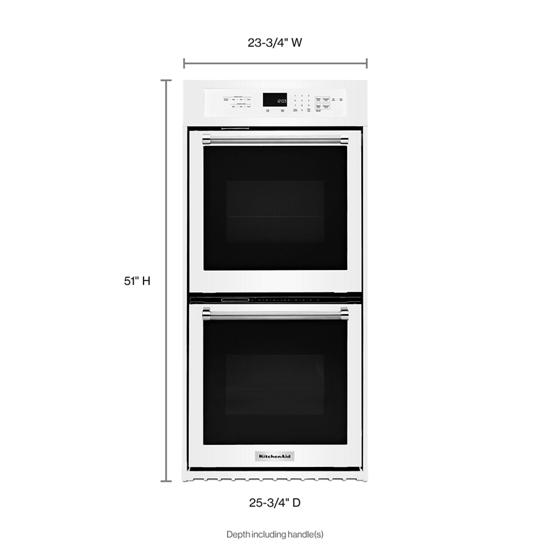 "Model: KODC304EWH | KitchenAid 24"" Double Wall Oven with True Convection"