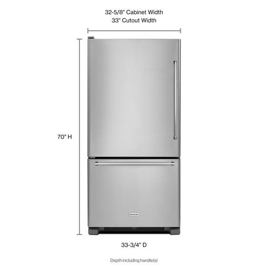 Model: KRBL102ESS | KitchenAid 22 cu. ft. 33-Inch Width Full Depth Non Dispense Bottom Mount Refrigerator
