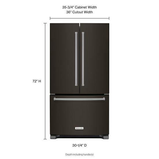 Model: KRFC302EBS | KitchenAid 22 cu. ft. 36-Inch Width Counter Depth French Door Refrigerator with Interior Dispense