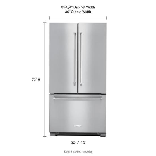 Model: KRFC302ESS | KitchenAid 22 cu. ft. 36-Inch Width Counter Depth French Door Refrigerator with Interior Dispense