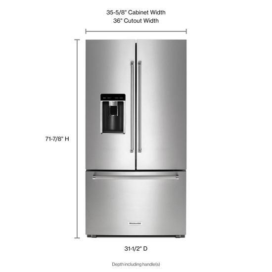 "Model: KRFC604FSS | KitchenAid 23.8 cu. ft. 36"" Counter-Depth French Door Refrigerator"