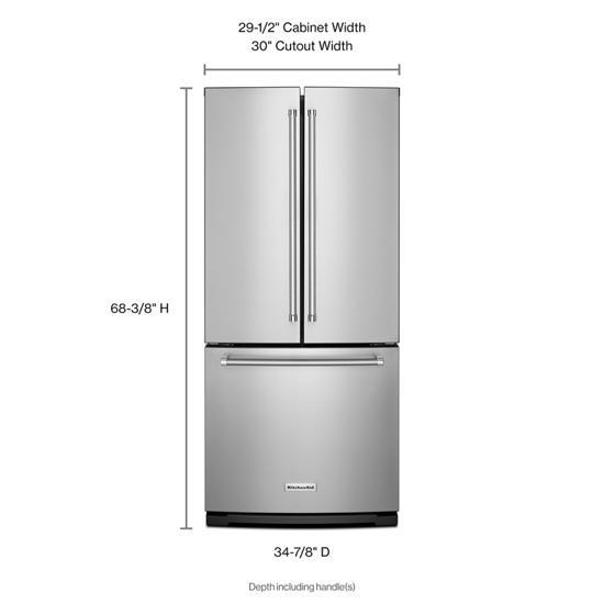 Model: KRFF300ESS   KitchenAid 20 cu. Ft. 30-Inch Width Standard Depth French Door Refrigerator with Interior Dispense