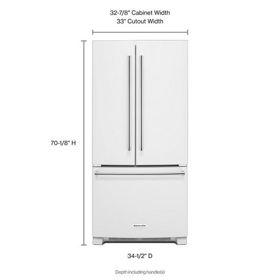 Model: KRFF302EWH | KitchenAid 22 Cu. Ft. 33-Inch Width Standard Depth French Door Refrigerator with Interior Dispenser