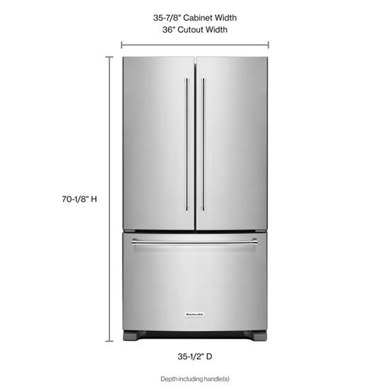 Model: KRFF305ESS | KitchenAid 25 Cu. Ft. 36-Width Standard Depth French Door Refrigerator with Interior Dispense