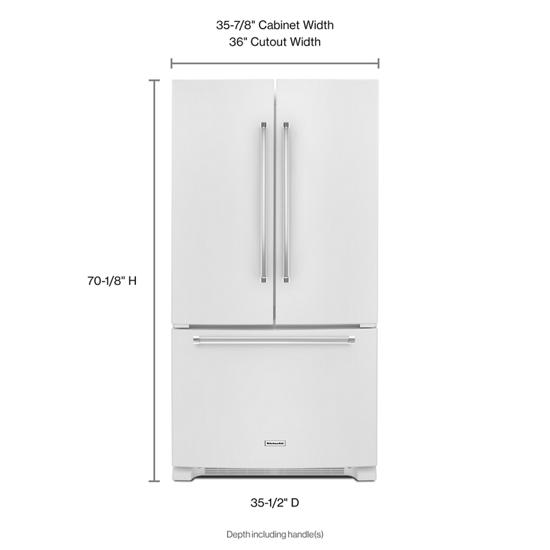Model: KRFF305EWH | KitchenAid 25 Cu. Ft. 36-Width Standard Depth French Door Refrigerator with Interior Dispense