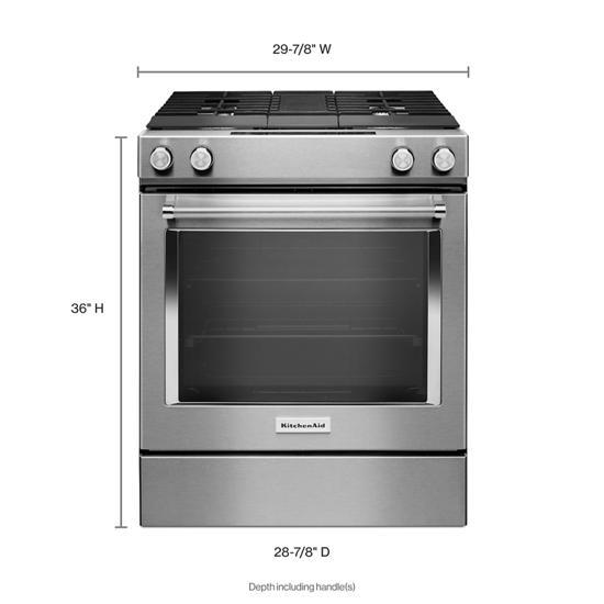 KitchenAid 30-Inch 4-Burner Dual Fuel Downdraft Slide-In Range
