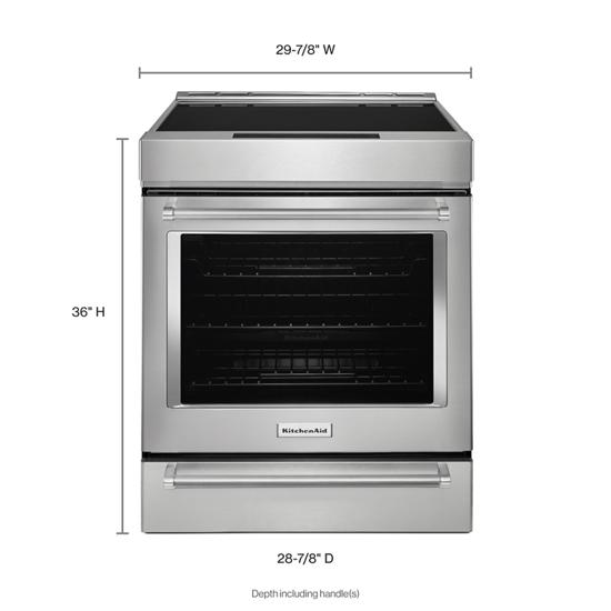 KitchenAid 30-Inch 4-Element Induction Slide-In Convection Range with Baking Drawer
