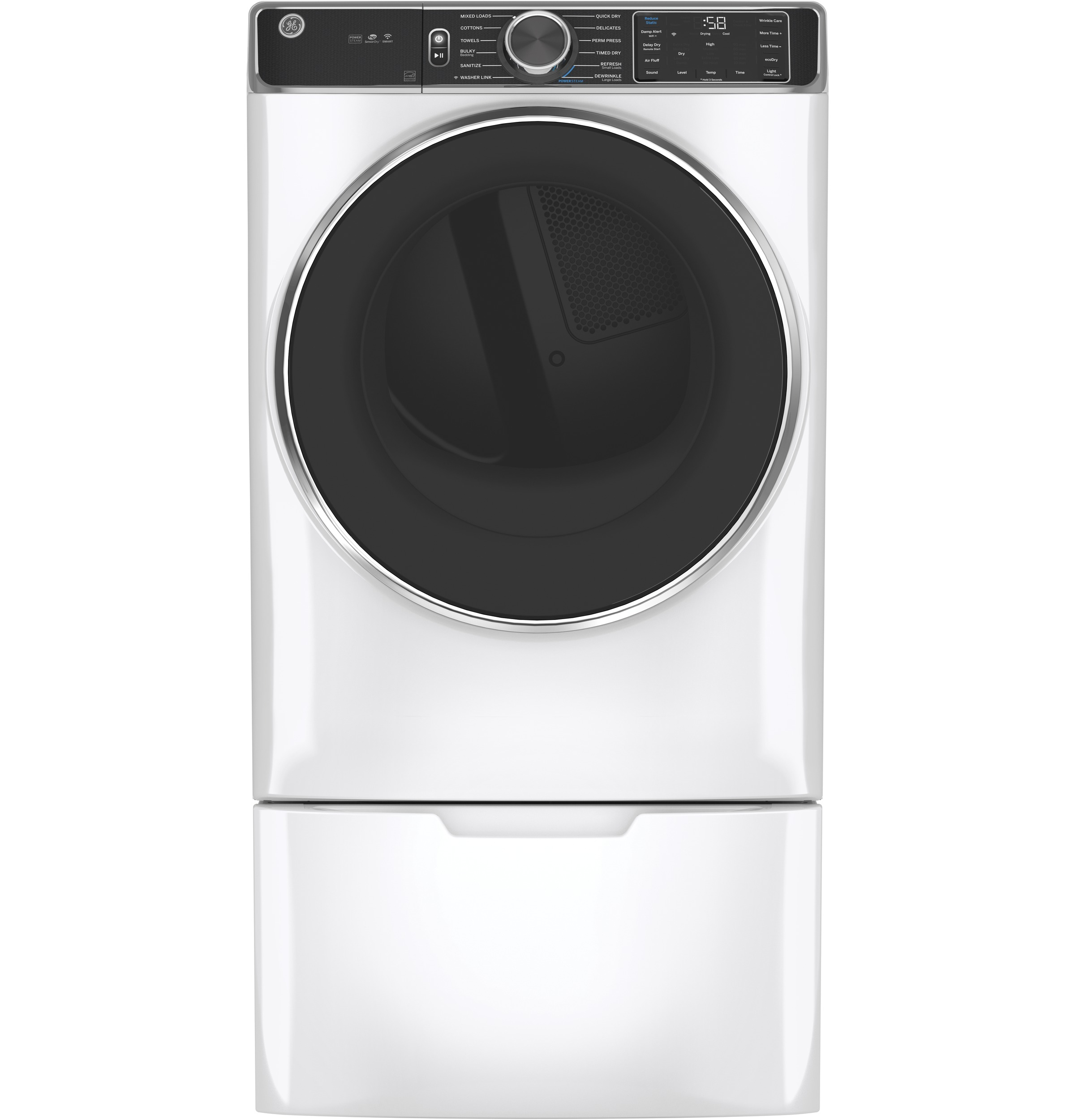 Model: GFD85GSSNWW | GE GE® 7.8 cu. ft. Capacity Smart Front Load Gas Dryer with Steam and Sanitize Cycle