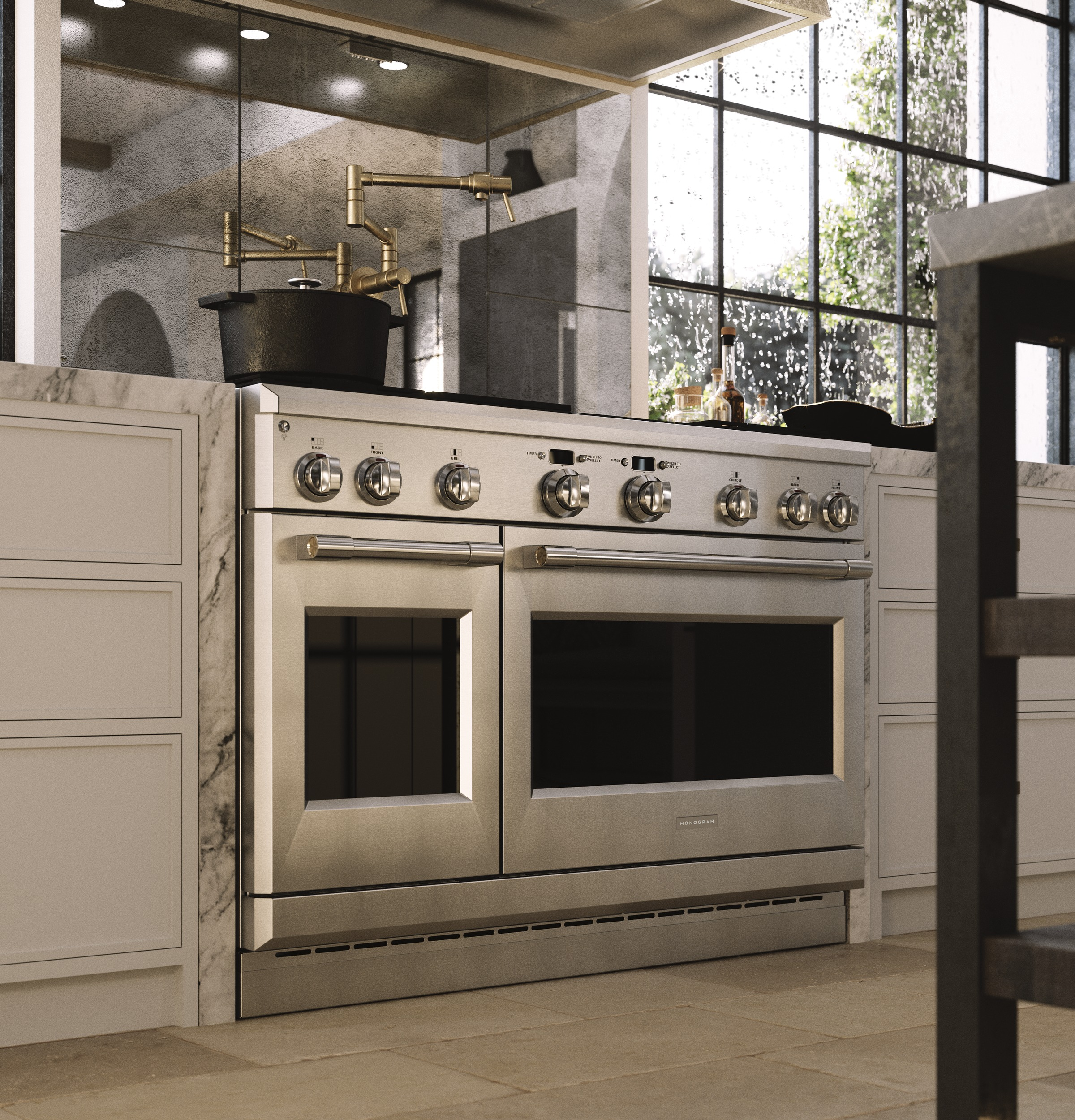 "Model: ZDP484NGNSS | Monogram Monogram 48"" Dual-Fuel Professional Range with 4 Burners, Grill, and Griddle (Natural Gas)"