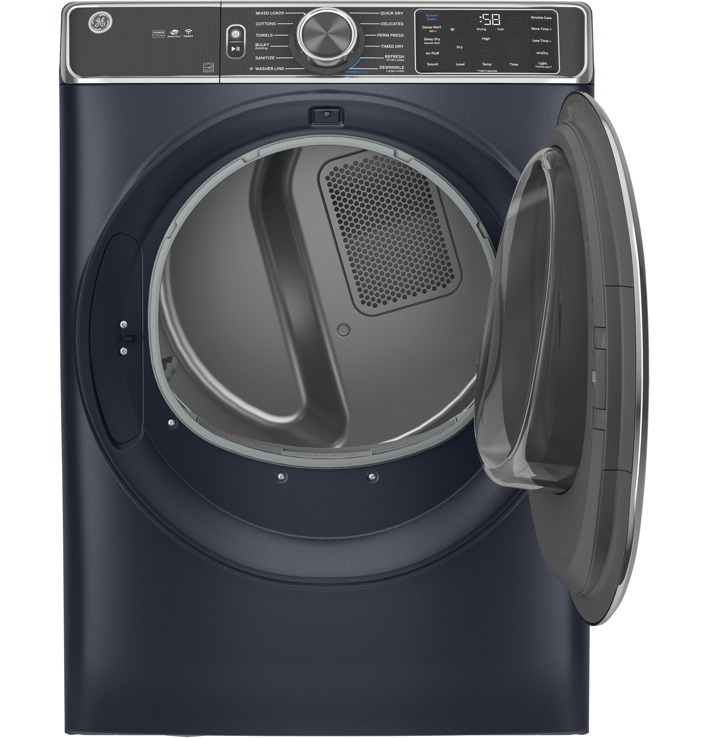 Model: GFD85ESPNRS | GE GE® 7.8 cu. ft. Capacity Smart Front Load Electric Dryer with Steam and Sanitize Cycle