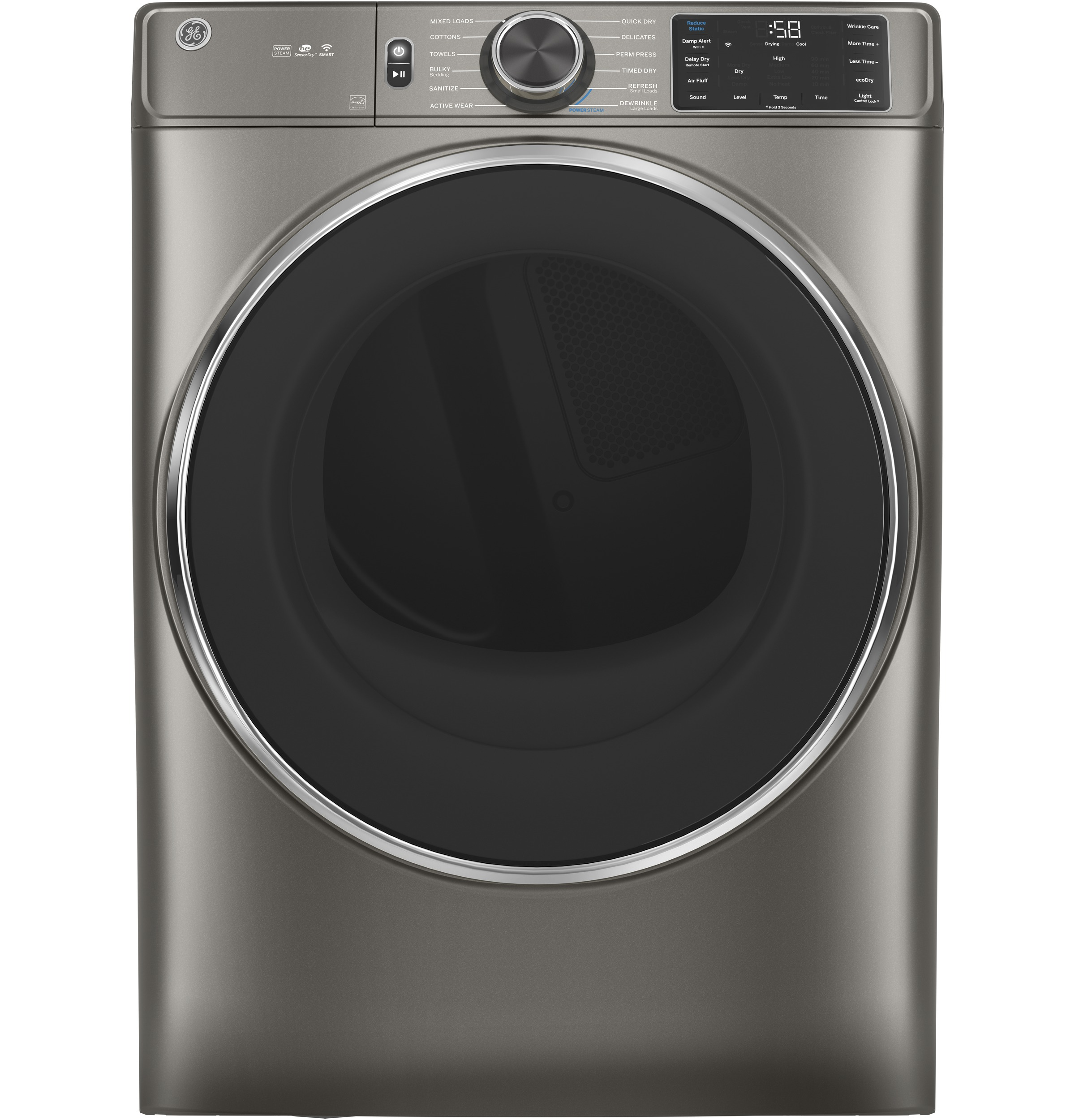 Model: GFD65ESPNSN | GE GE® 7.8 cu. ft. Capacity Smart Front Load Electric Dryer with Steam and Sanitize Cycle