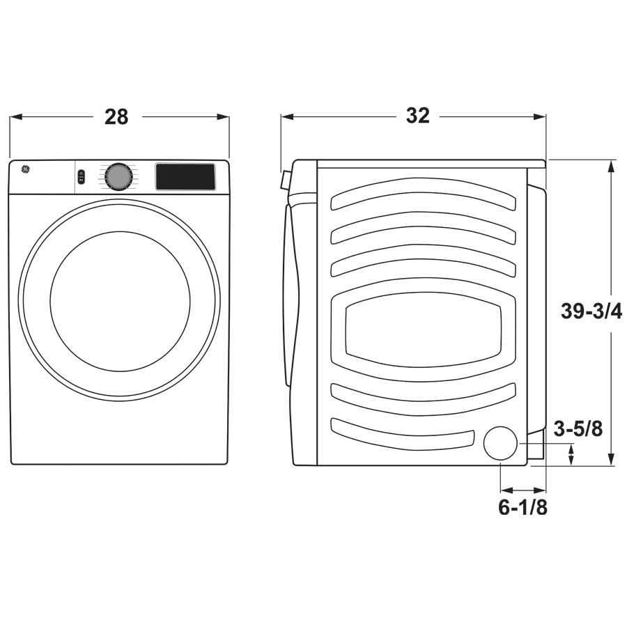 Model: GFD65ESPNSN | GE GE® 7.8 cu. ft. Capacity Smart Front Load Electric Dryer with Steam