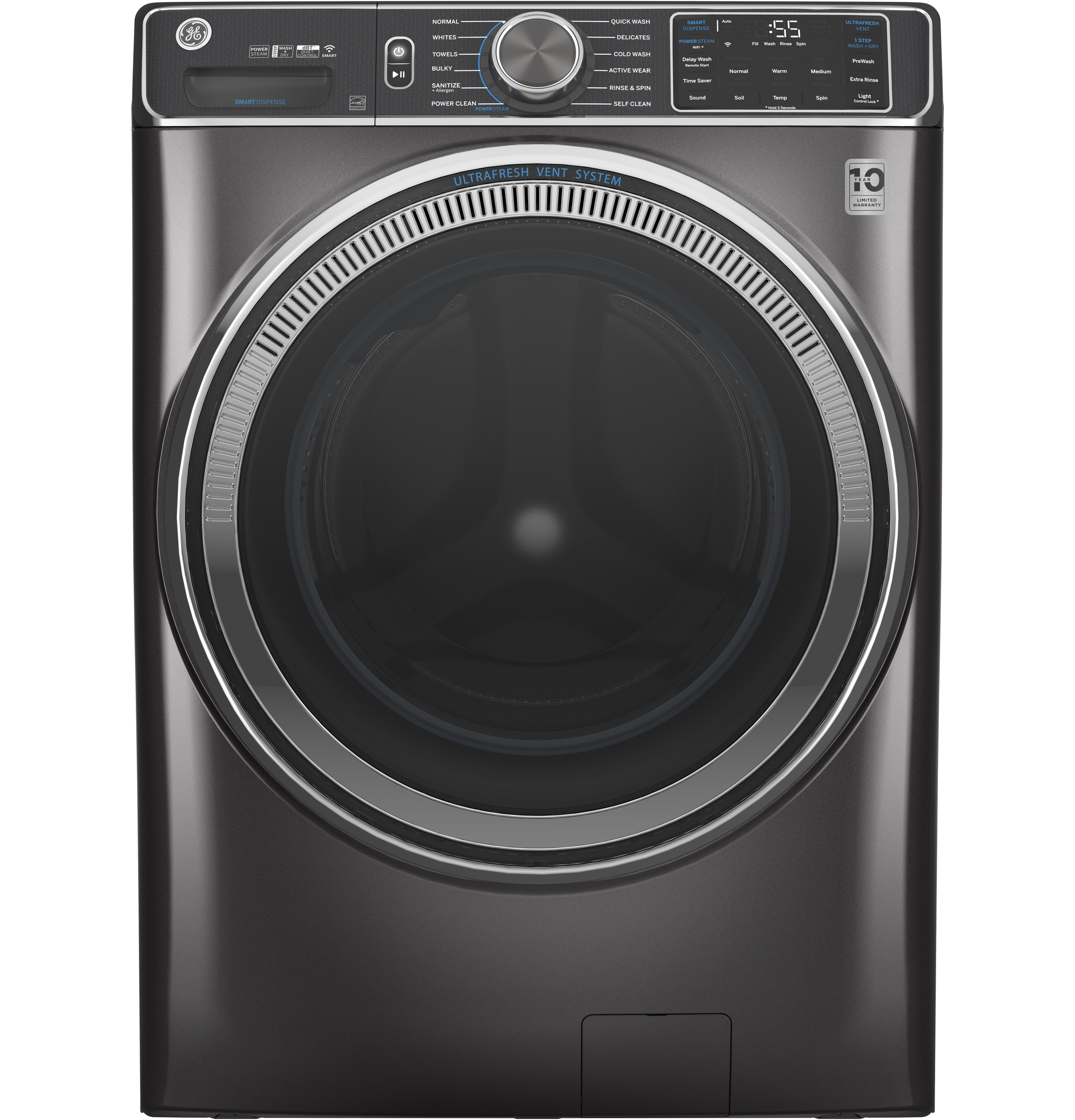 GE GE® 5.0 cu. ft. Capacity Smart Front Load ENERGY STAR® Steam Washer with SmartDispense™ UltraFresh Vent System with OdorBlock™ and Sanitize + Allergen