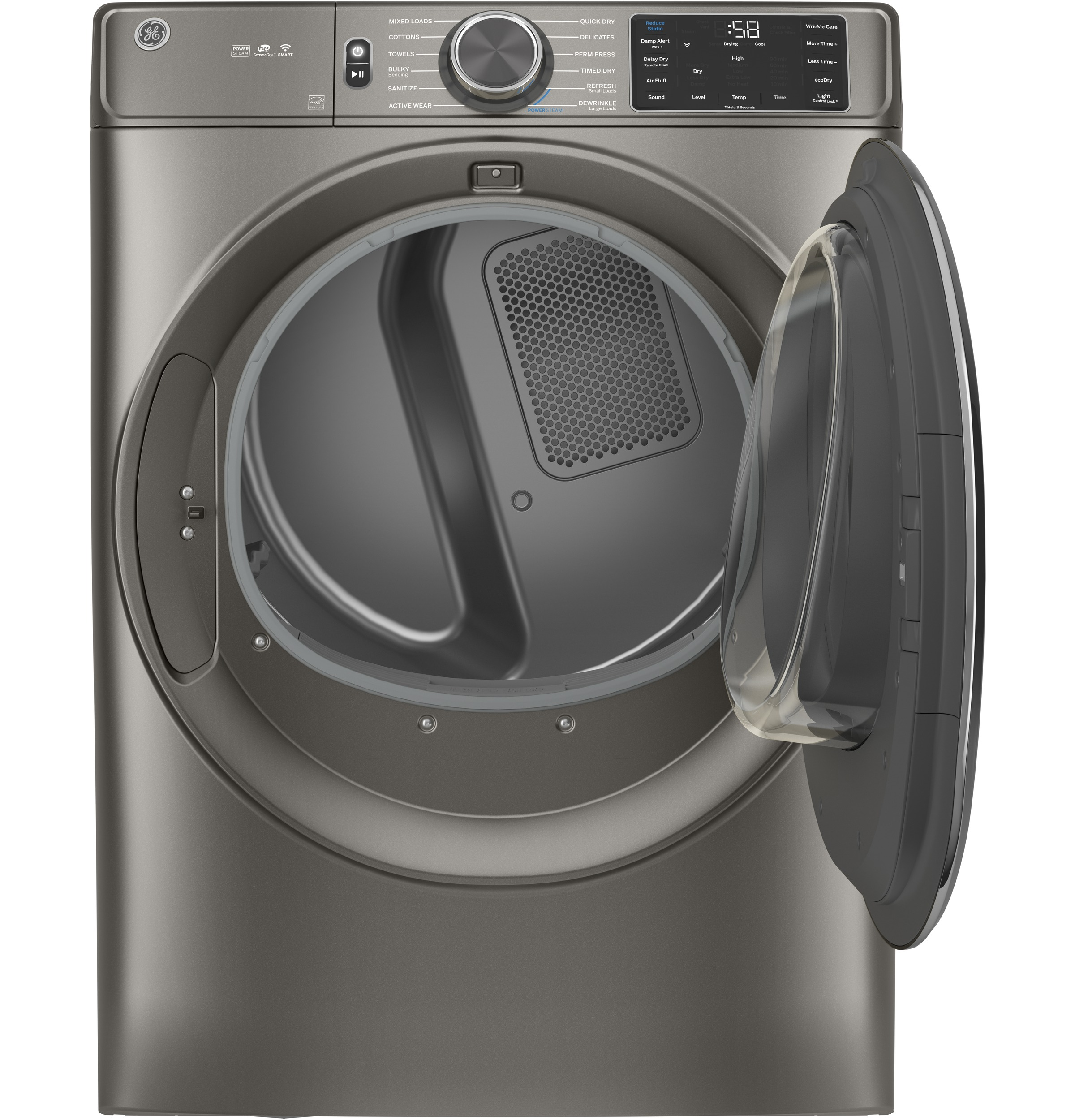 Model: GFD65GSPNSN | GE GE® 7.8 cu. ft. Capacity Smart Front Load Gas Dryer with Steam and Sanitize Cycle