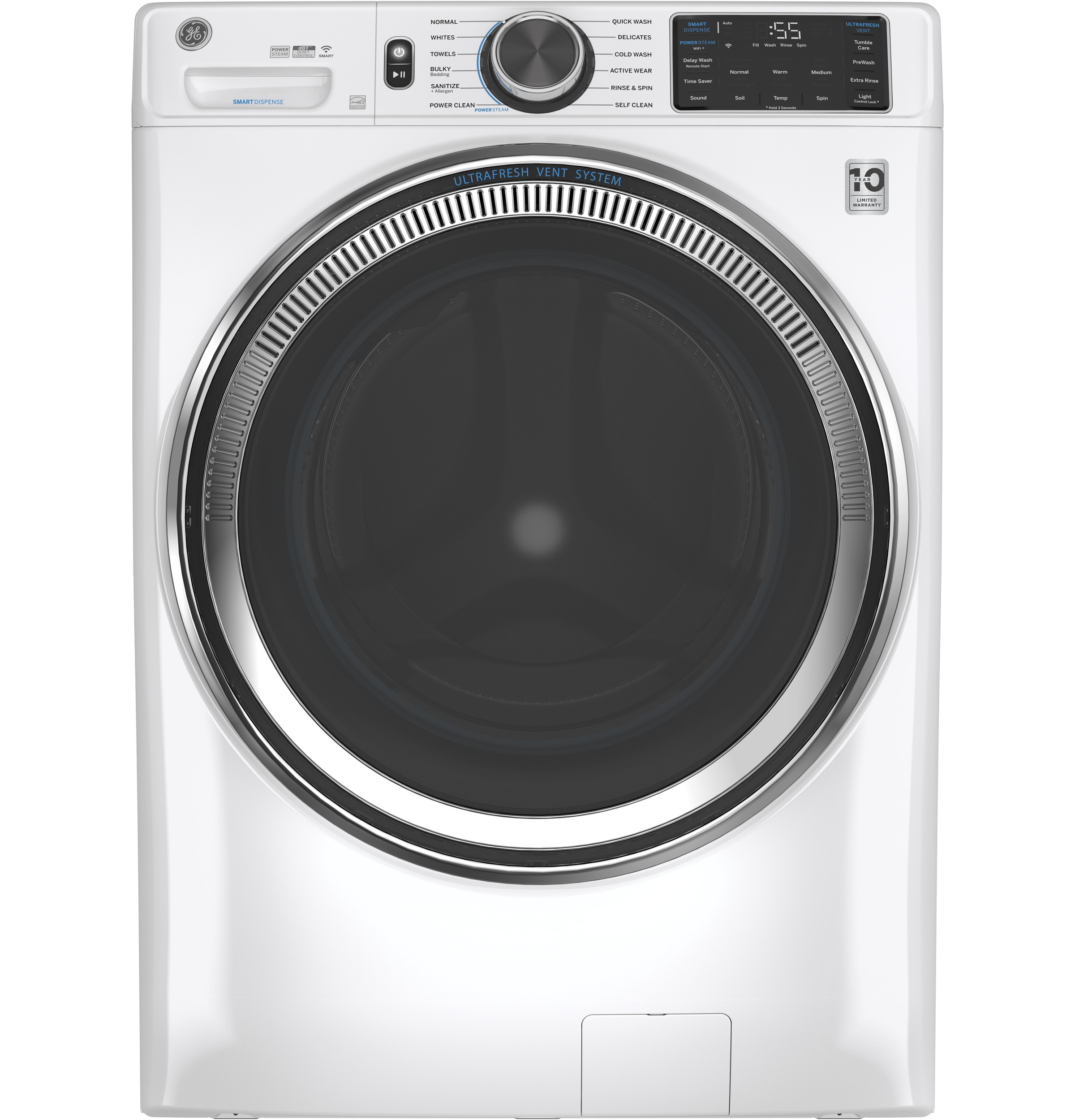 GE GE® 4.8 cu. ft. Capacity Smart Front Load ENERGY STAR® Steam Washer with SmartDispense™ UltraFresh Vent System with OdorBlock™ and Sanitize + Allergen