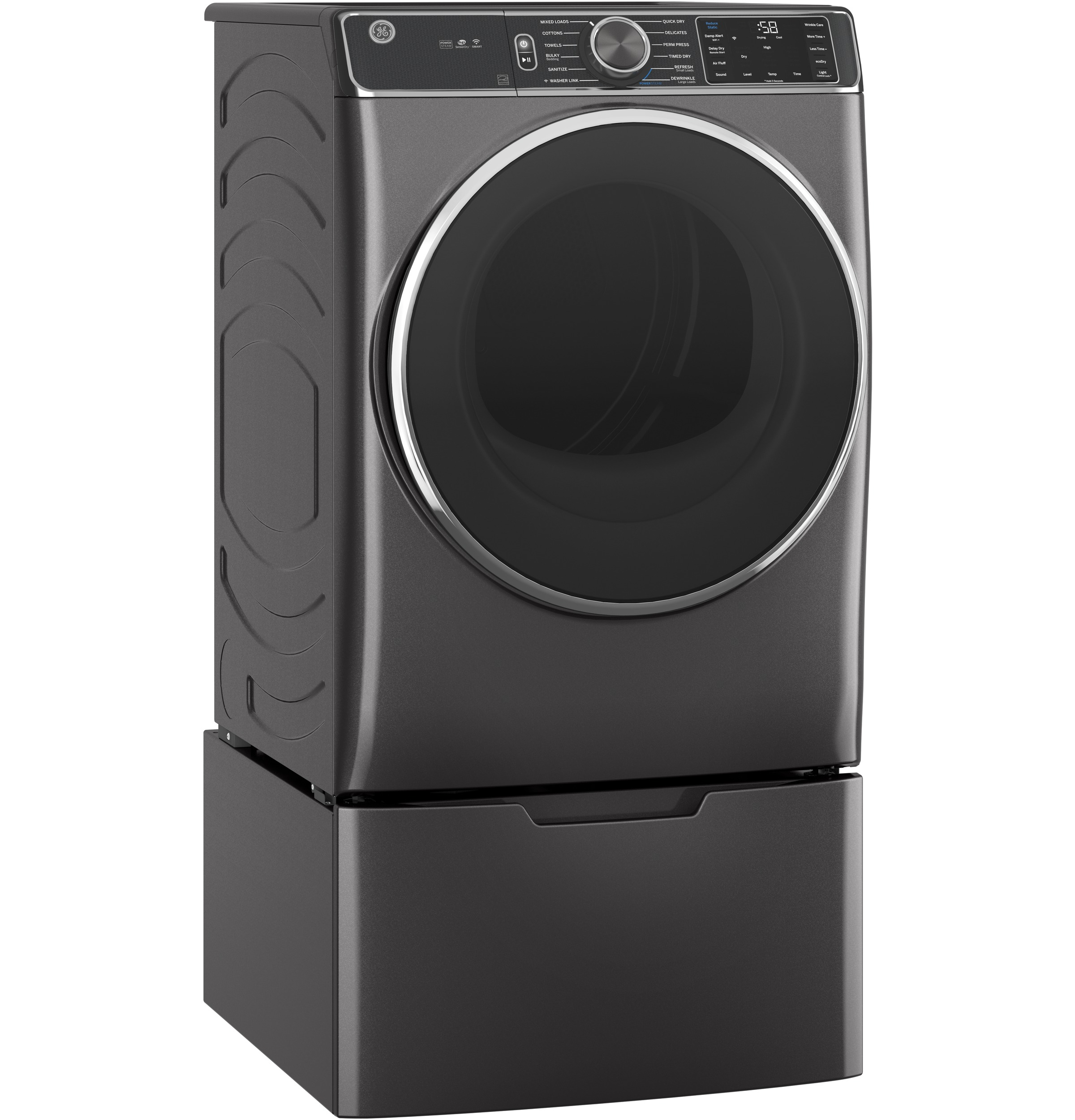 Model: GFD85ESPNDG | GE GE® 7.8 cu. ft. Capacity Smart Front Load Electric Dryer with Steam and Sanitize Cycle