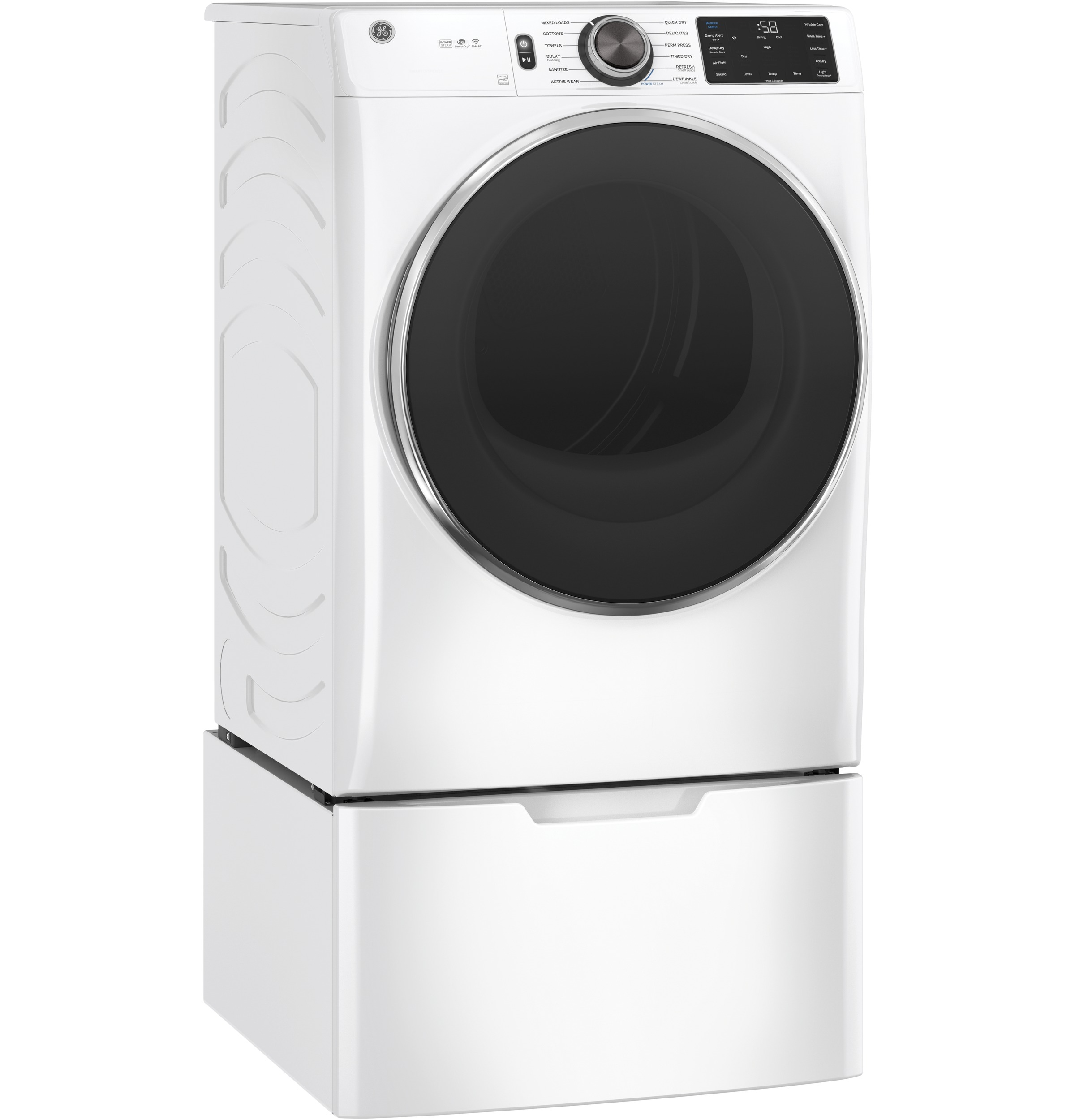 Model: GFD65ESSNWW | GE GE® 7.8 cu. ft. Capacity Smart Front Load Electric Dryer with Steam and Sanitize Cycle