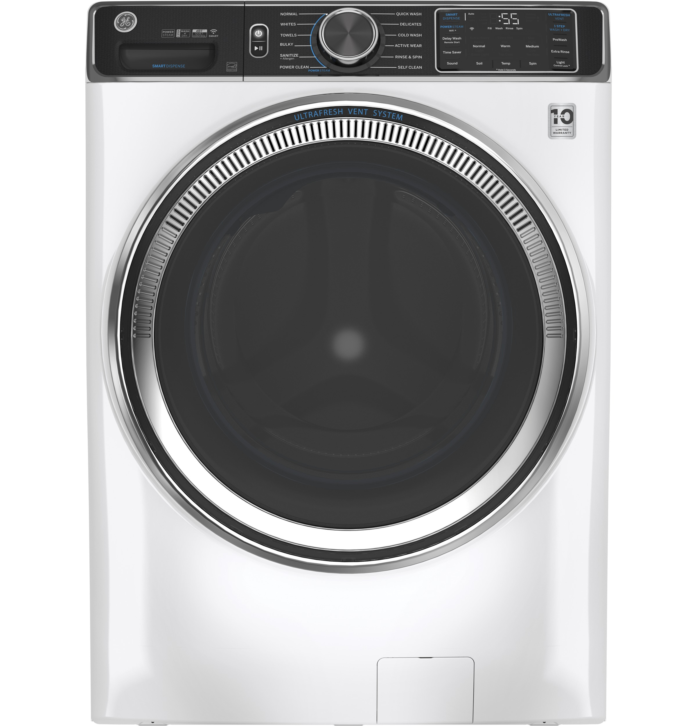 Model: GFW850SSNWW | GE GE® 5.0 cu. ft. Capacity Smart Front Load ENERGY STAR® Steam Washer with SmartDispense™ UltraFresh Vent System with OdorBlock™ and Sanitize + Allergen