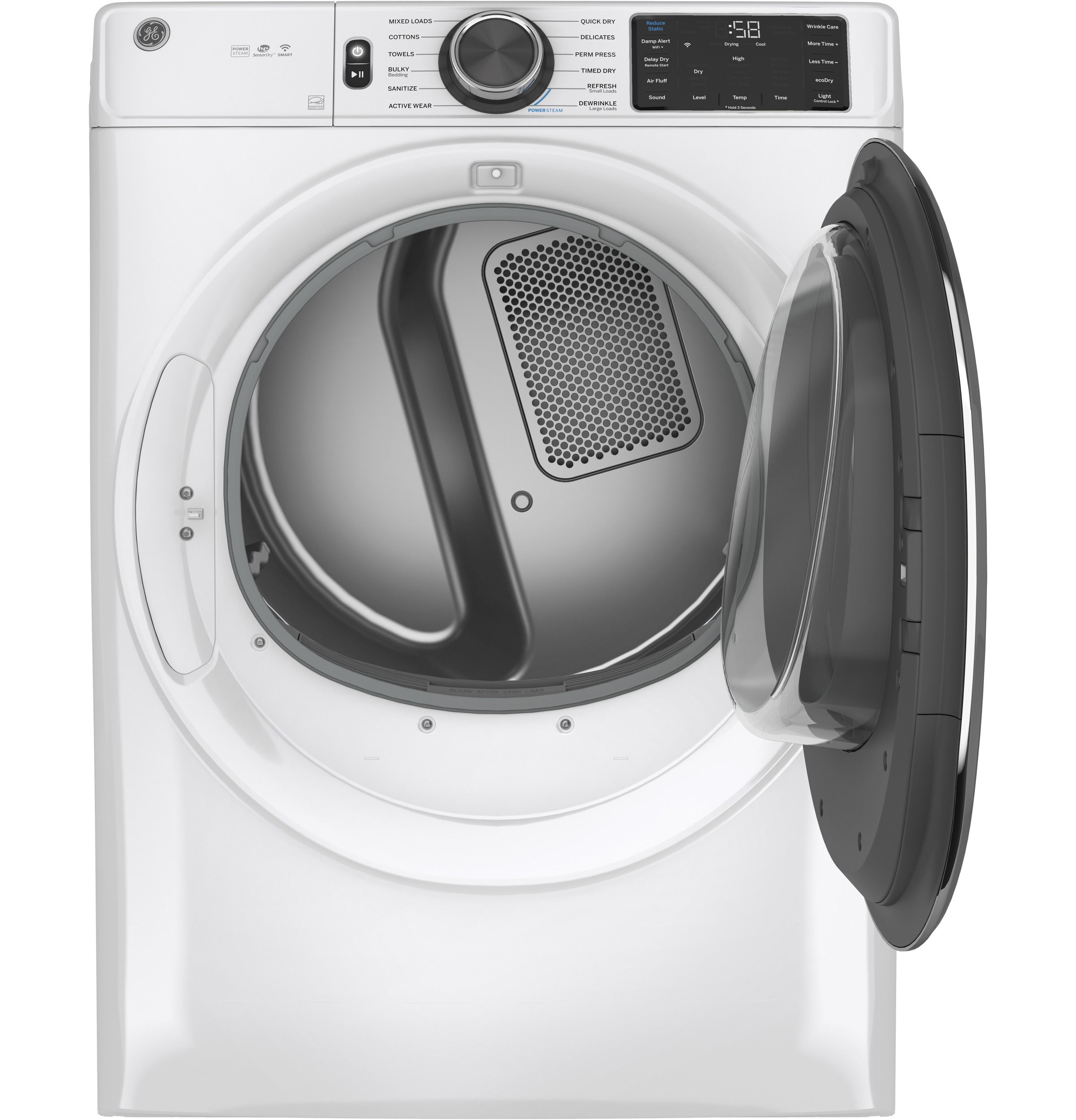 Model: GFD65GSSNWW | GE GE® 7.8 cu. ft. Capacity Smart Front Load Gas Dryer with Steam and Sanitize Cycle