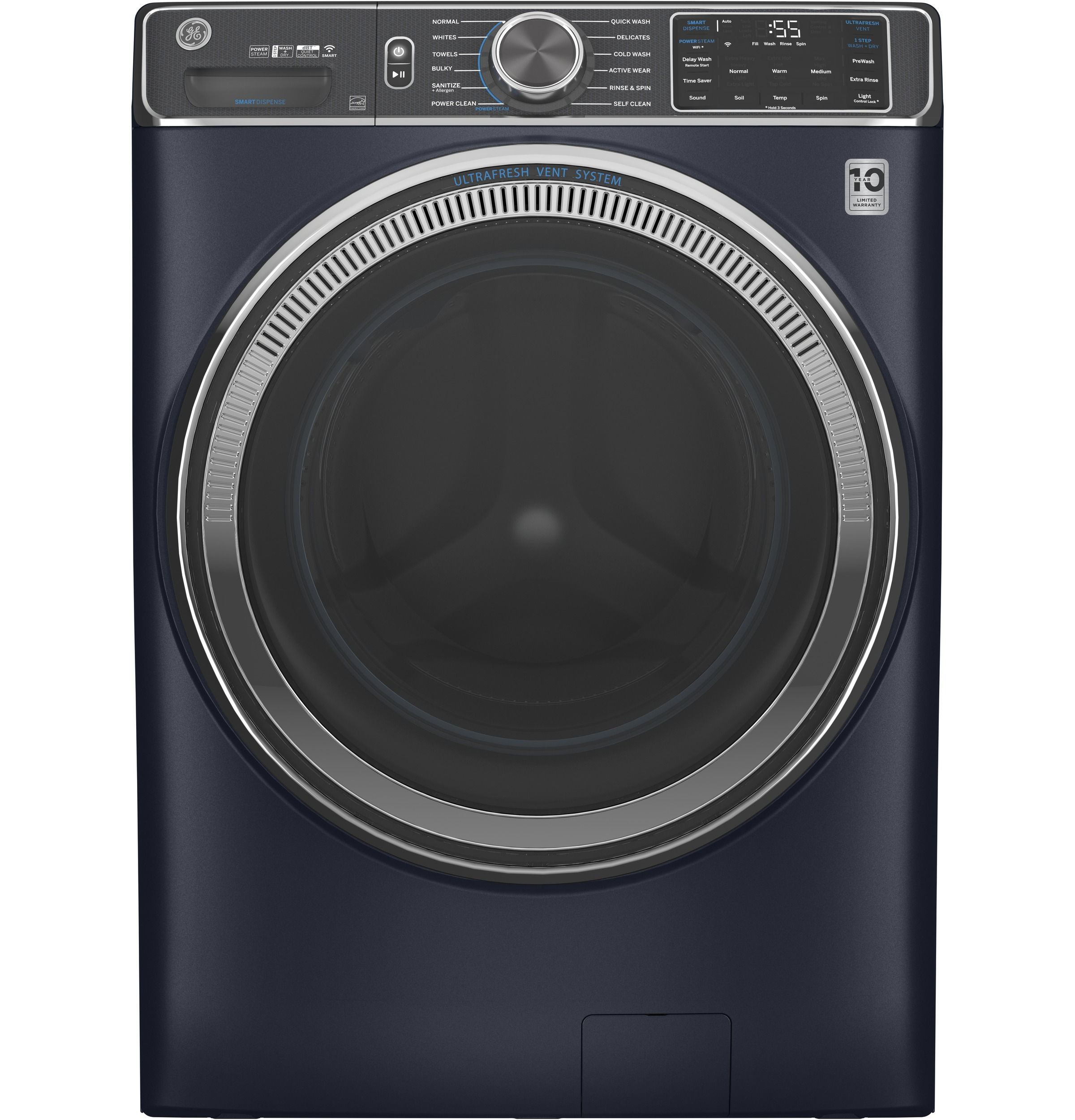 GE GE® 5.0 cu. ft. Capacity Smart Front Load ENERGY STAR® Steam Washer with SmartDispense™ UltraFresh Vent System with OdorBlock™