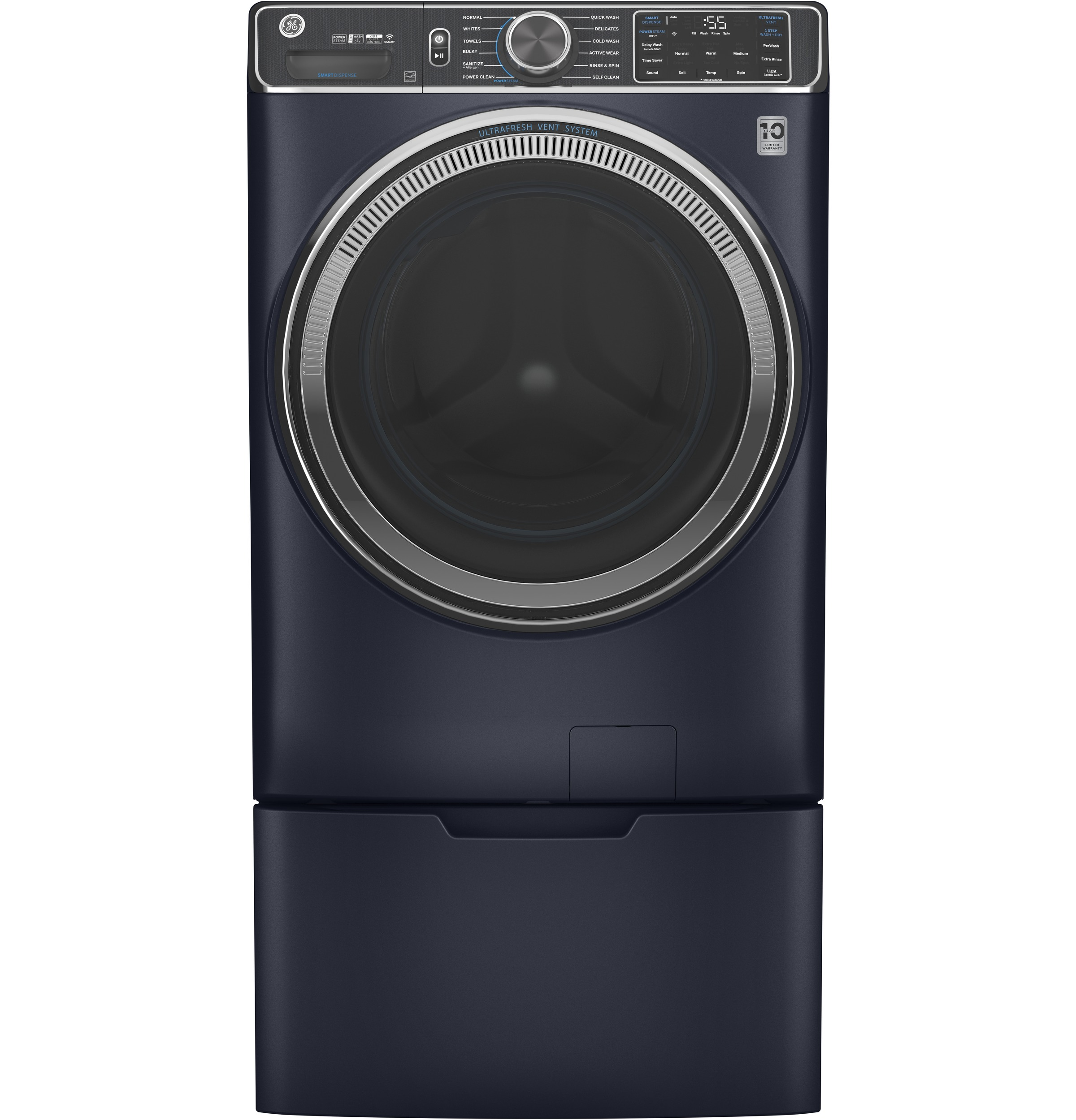 Model: GFW850SPNRS | GE GE® 5.0 cu. ft. Capacity Smart Front Load ENERGY STAR® Steam Washer with SmartDispense™ UltraFresh Vent System with OdorBlock™ and Sanitize + Allergen