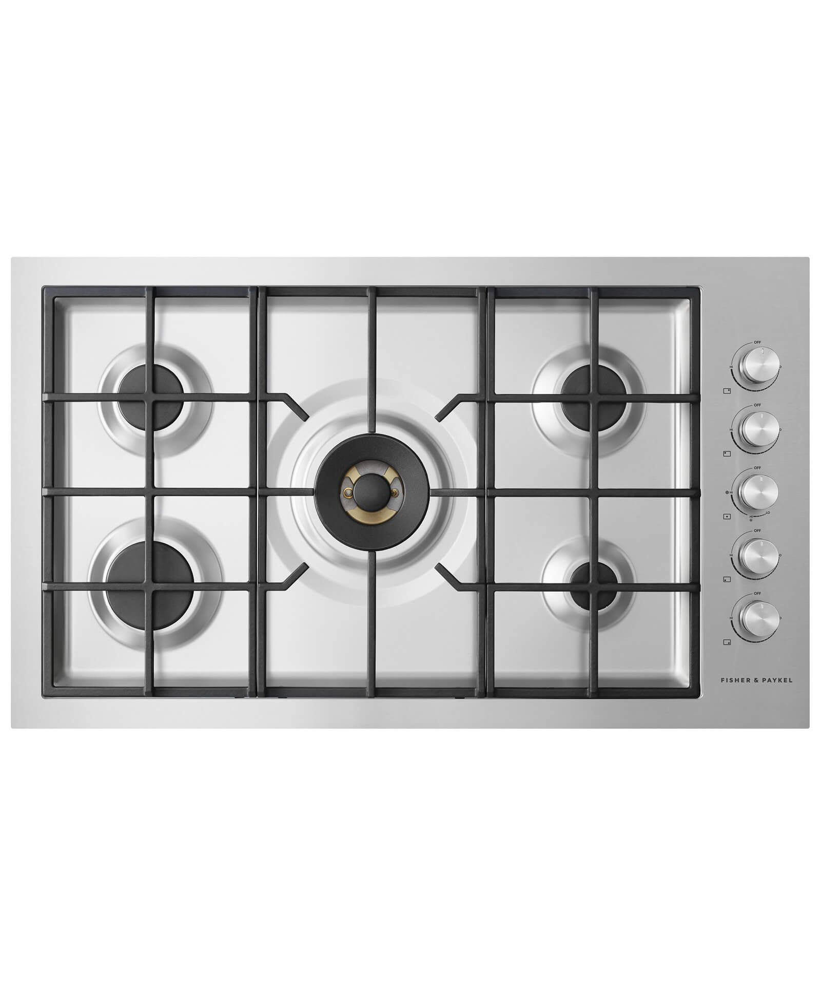 "Fisher and Paykel 36"" Gas on Steel Cooktop   5 Burner, Flush Fit"