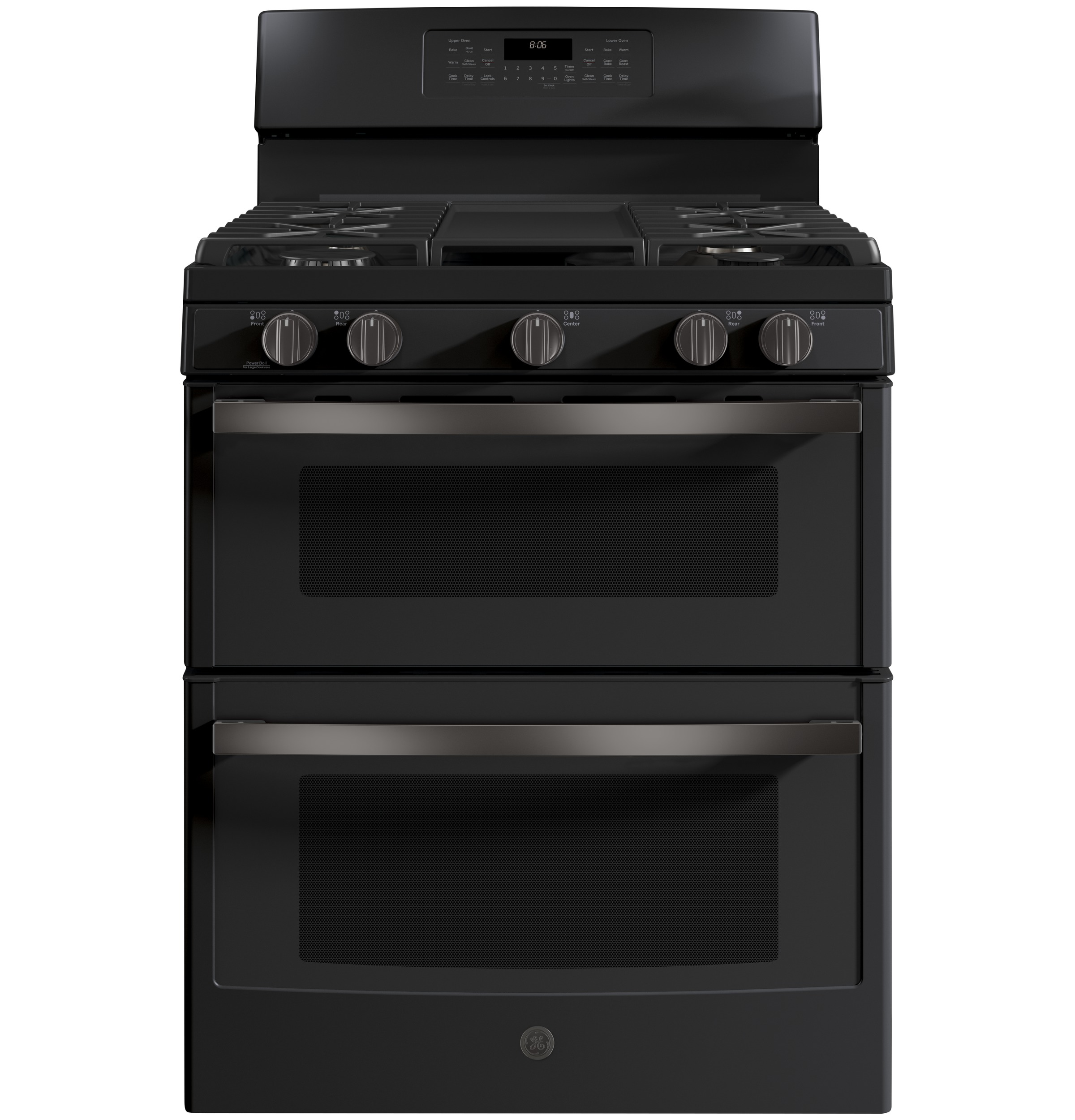 "Model: JGB860FEJDS   GE GE® 30"" Free-Standing Gas Double Oven Convection Range"
