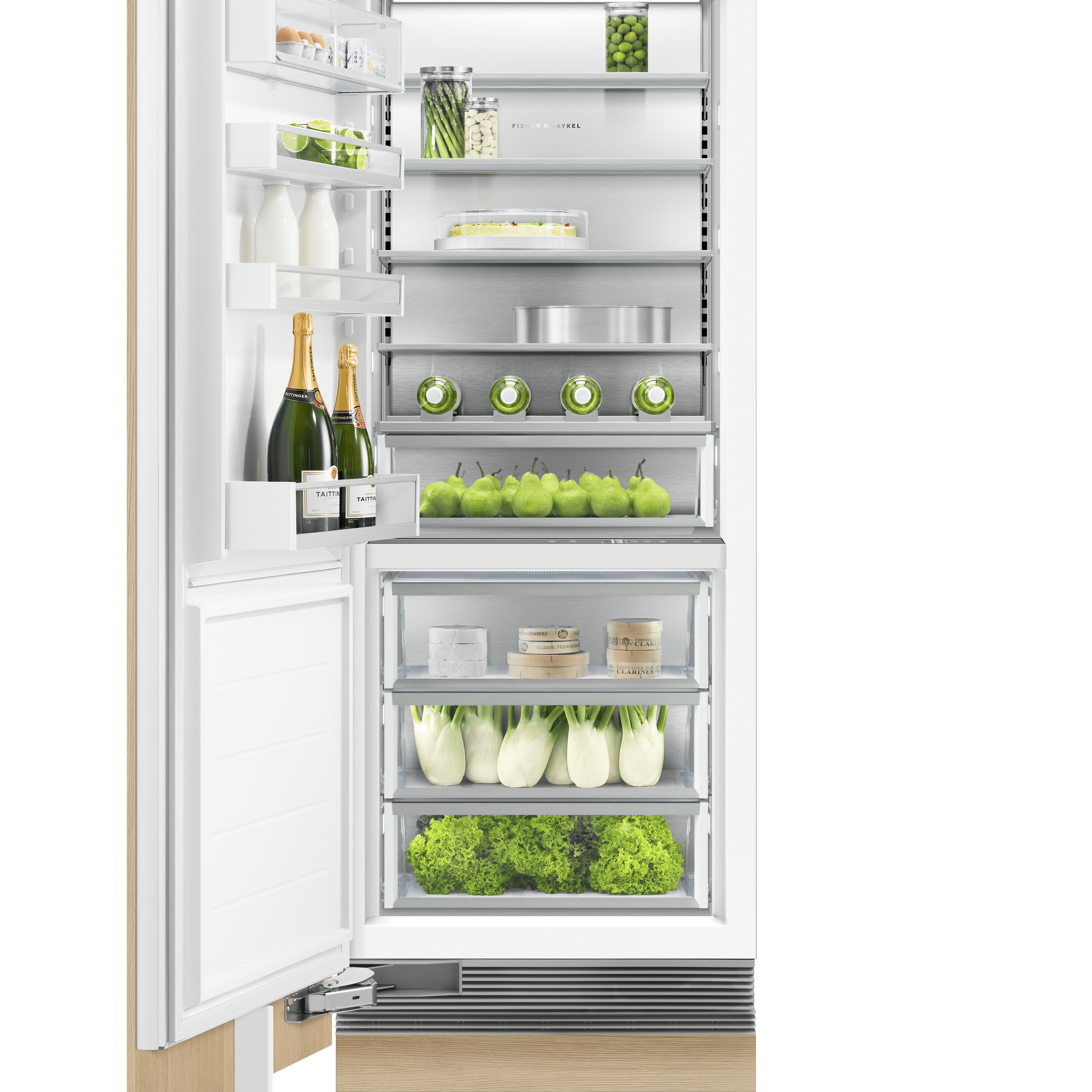 "Model: RS3084SLK1 | Fisher and Paykel Integrated Column Refrigerator 30"", Stainless Steel Interior"