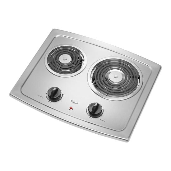Model: RCS2012RS | Whirlpool  21-inch Electric Cooktop with Stainless Steel Surface