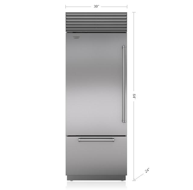 "Model: BI-30U/S/PH-RH | Sub-Zero 30"" Classic Over-and-Under Refrigerator/Freezer"