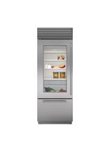 "Model: BI-30UG/S/PH-RH | Sub-Zero 30"" Classic Over-and-Under Refrigerator/Freezer with Glass Door"