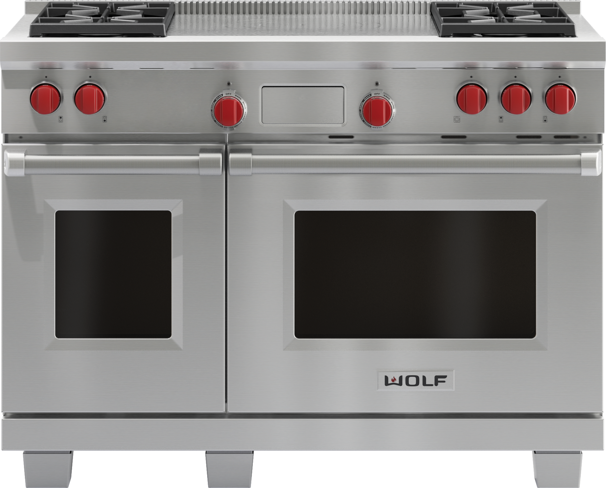 "Model: DF484F | Wolf 48"" Dual Fuel Range - 4 Burners and French Top"