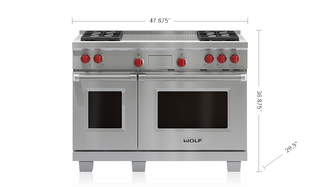"Model: DF484F-LP | Wolf 48"" Dual Fuel Range - 4 Burners and French Top"
