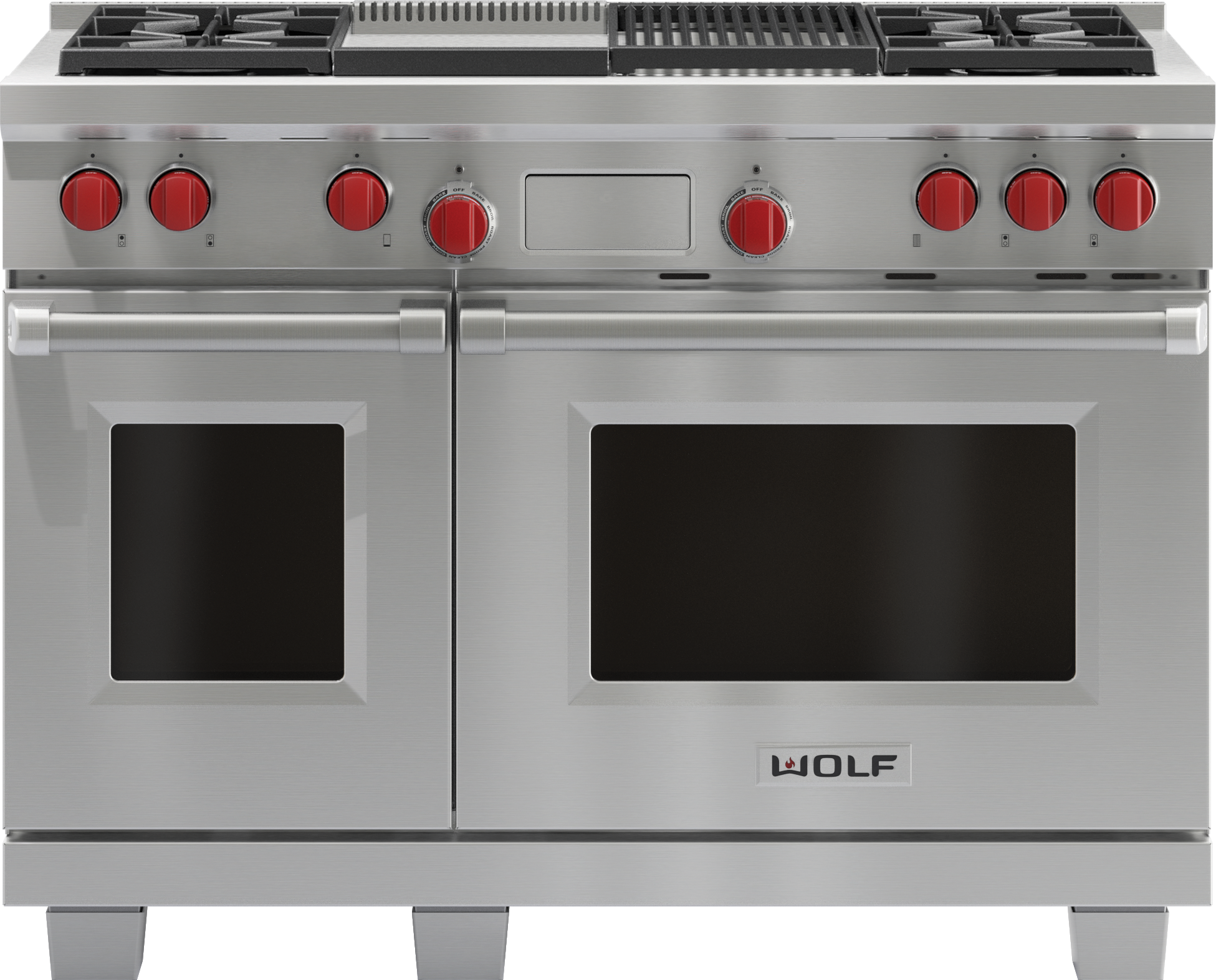 "Model: DF484CG | Wolf Legacy Model - 48"" Dual Fuel Range - 4 Burners, Infrared Charbroiler and Infrared Griddle"