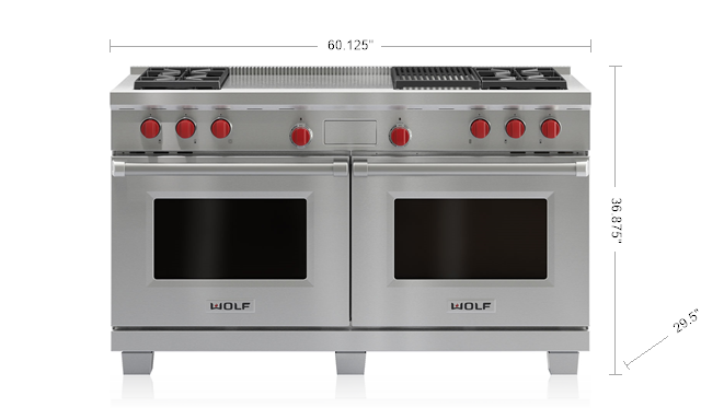 "Model: DF604CF-LP | Wolf Legacy Model - 60"" Dual Fuel Range - 4 Burners, Infrared Charbroiler and French Top"