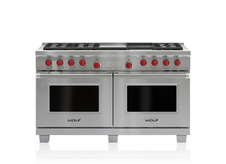 "Model: DF606CG | Wolf 60"" Dual Fuel Range - 6 Burners, Infrared Charbroiler and Infrared Griddle"