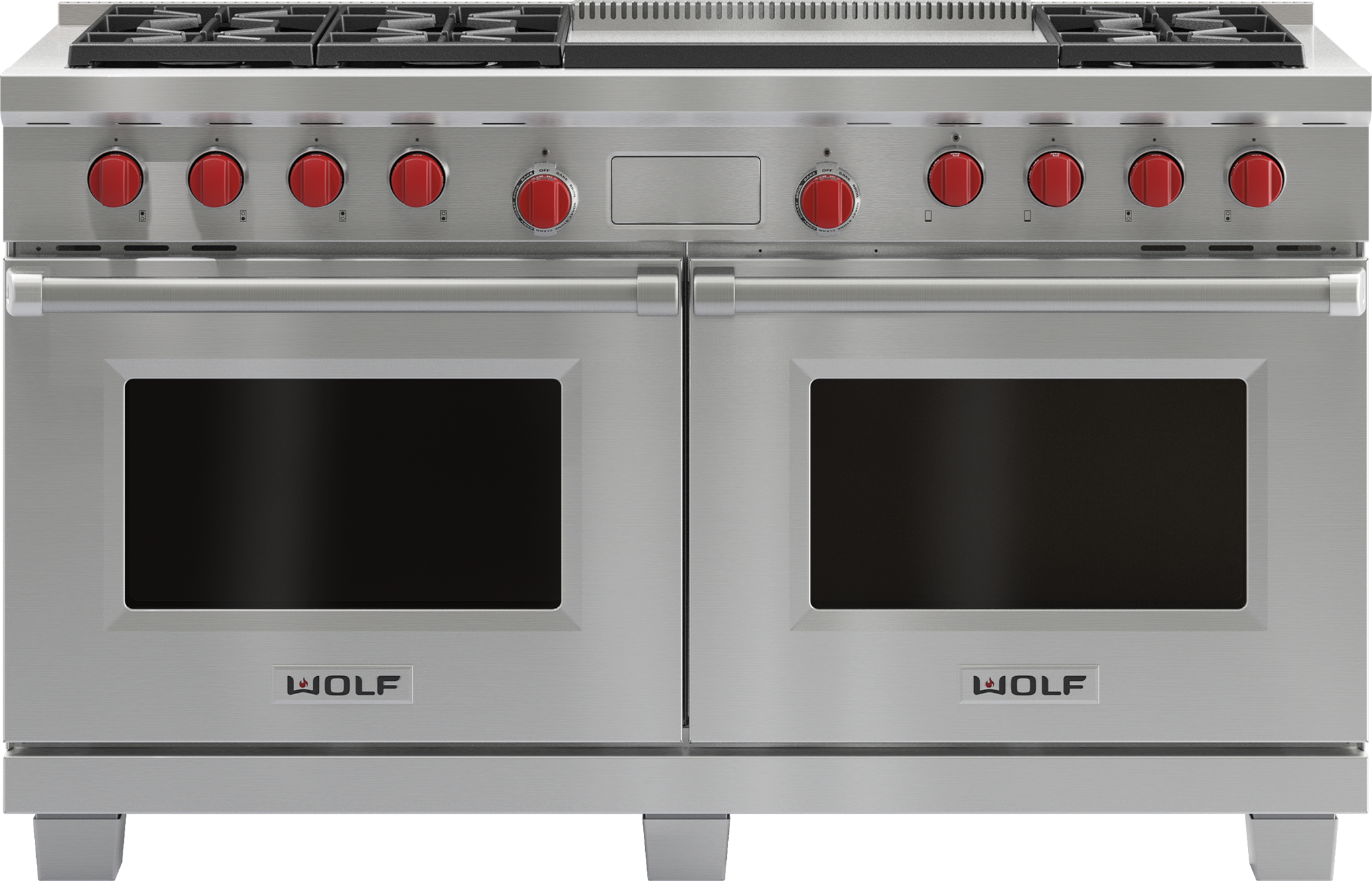 "Model: DF606DG | Wolf 60"" Dual Fuel Range - 6 Burners and Infrared Dual Griddle"