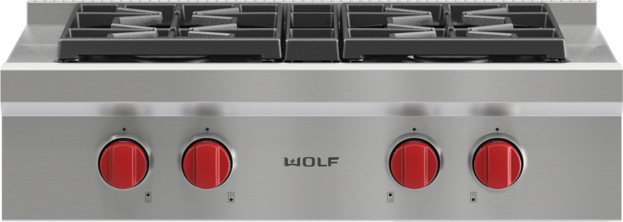 "Model: SRT304-LP | Wolf 30"" Sealed Burner Rangetop - 4 Burners"